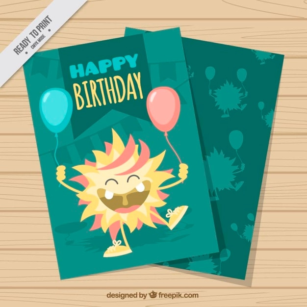 Hand drawn happy monster with balloons birthday\ card