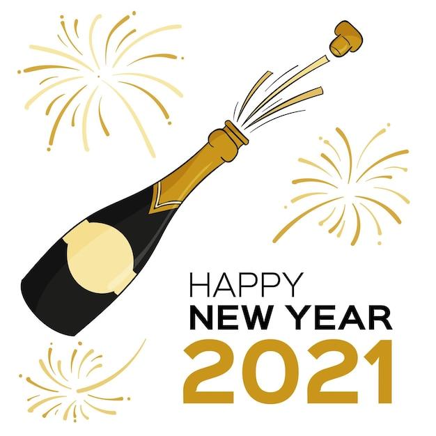 Нарисованная рукой бутылка шампанского с новым годом 2021 года Бесплатные векторы