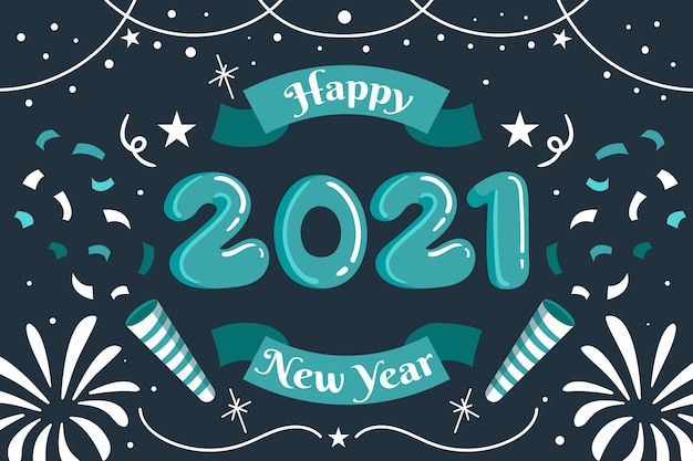 Hand drawn happy new year 2021 fireworks and confetti Free Vector