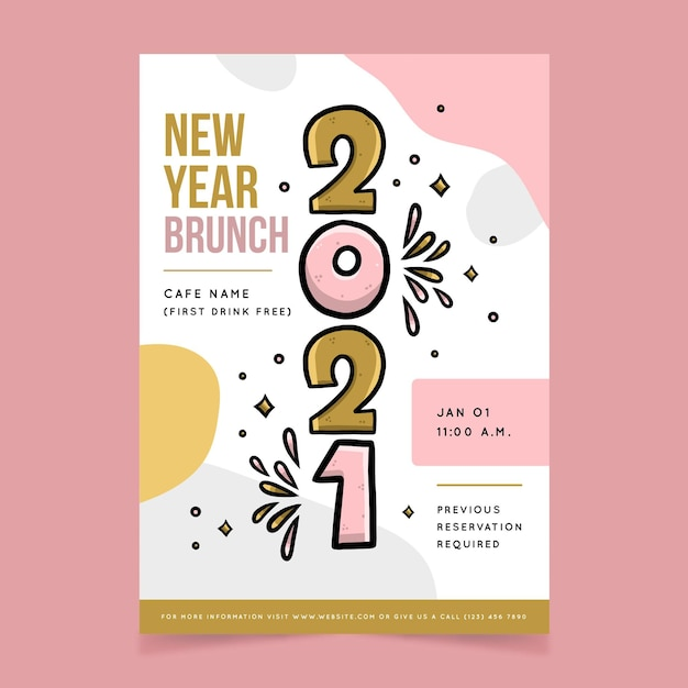 Hand drawn happy new year 2021 poster Free Vector