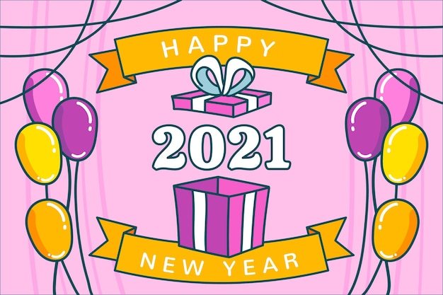 Hand drawn happy new year 2021 with balloons Free Vector