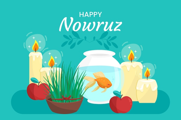 Hand drawn happy nowruz candles Free Vector