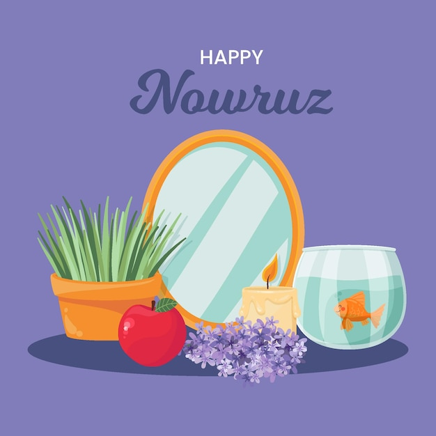 Hand drawn happy nowruz celebration Free Vector