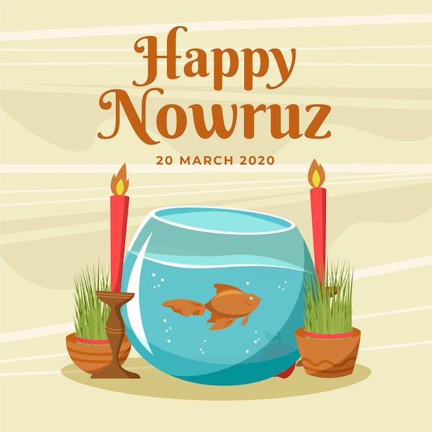 Hand drawn happy nowruz and talk with fish Free Vector