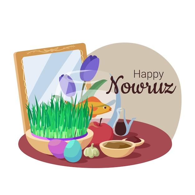 Hand-drawn happy nowruz Free Vector