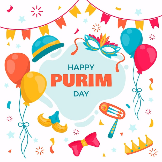 Hand drawn happy purim day with balloons Free Vector
