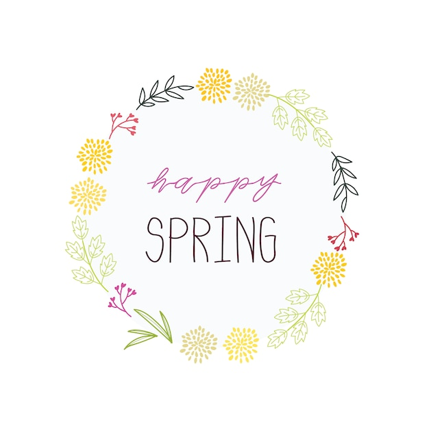 Hand drawn happy spring background Free Vector