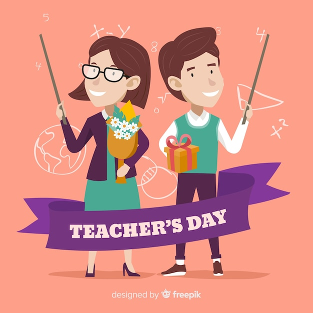 Hand drawn happy teachers on their day Free Vector
