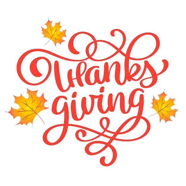 Hand drawn happy thanksgiving typography poster. Premium Vector