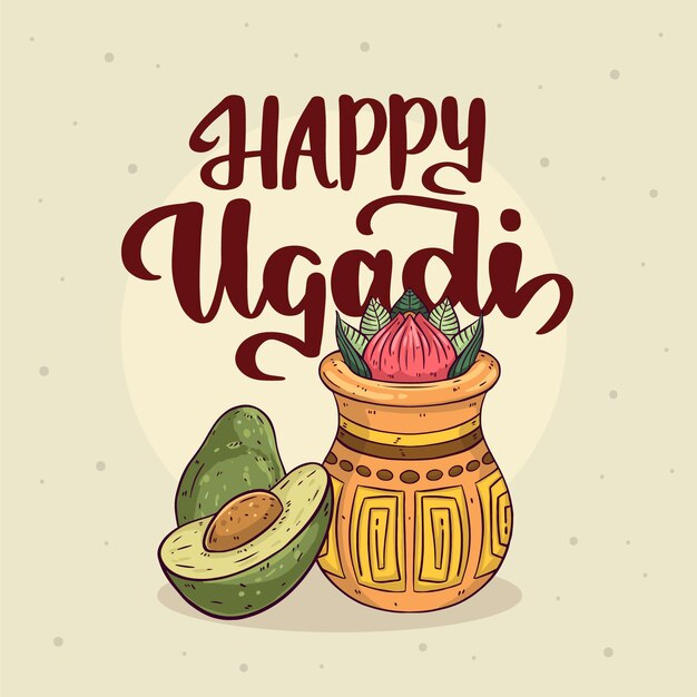 Hand-drawn happy ugadi concept Free Vector