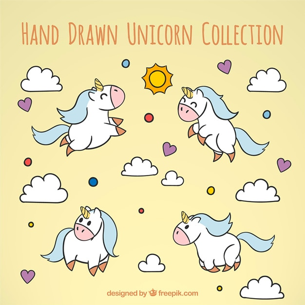 Hand drawn happy unicorns collection Free Vector