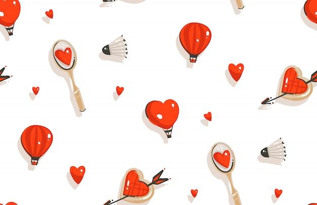 Ручной обращается счастливый день святого валентина концепции иллюстрации бесшовные модели с ракеткой для бадминтона, печенье на белом фоне Premium векторы