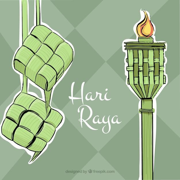 Hand drawn hari raya background Vector Free Download