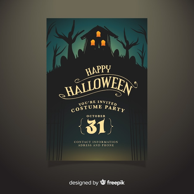Hand drawn haunted house halloween party poster template Free Vector