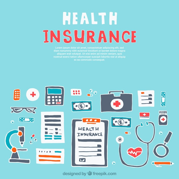 Hand drawn health insurance complements Vector | Free Download