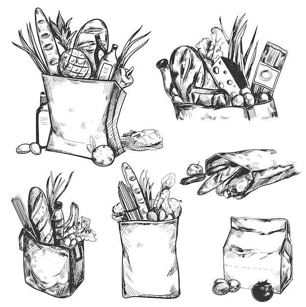 Set di icone prodotto salute disegnata a mano Vettore gratuito