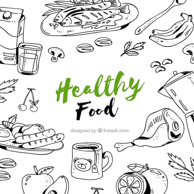 Disegnato a mano cibo sano sfondo Vettore gratuito