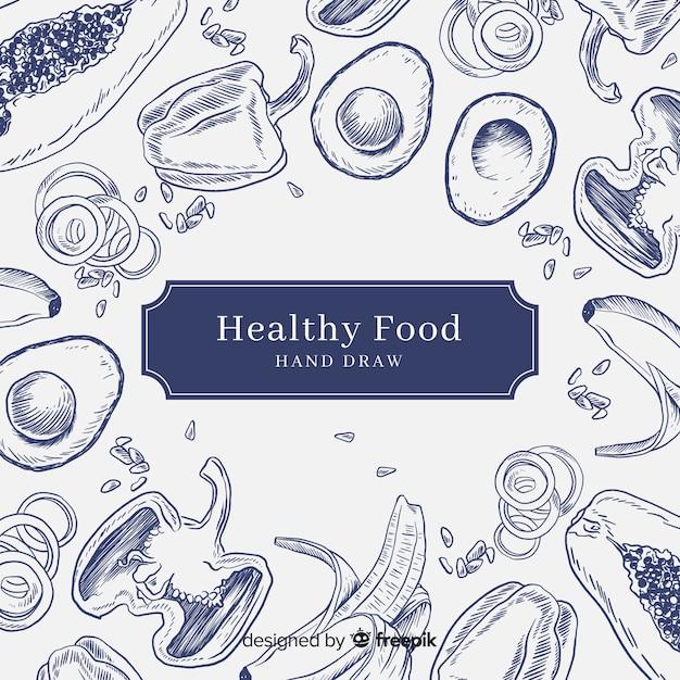 Рисованной здоровой пищи фон Premium векторы