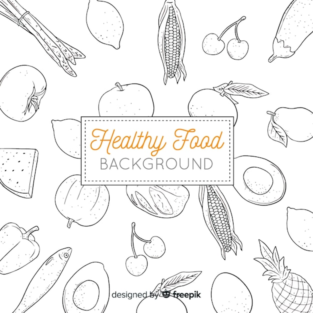 Hand drawn healthy food background Free Vector
