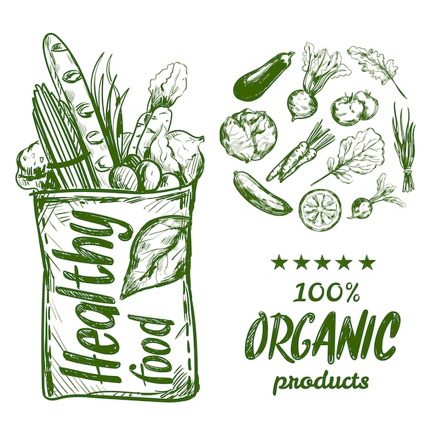 Hand drawn healthy food bag Free Vector