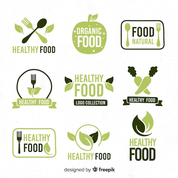 Hand drawn healthy food logo collection Free Vector