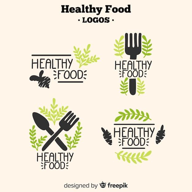 Hand drawn healthy food logos Free Vector