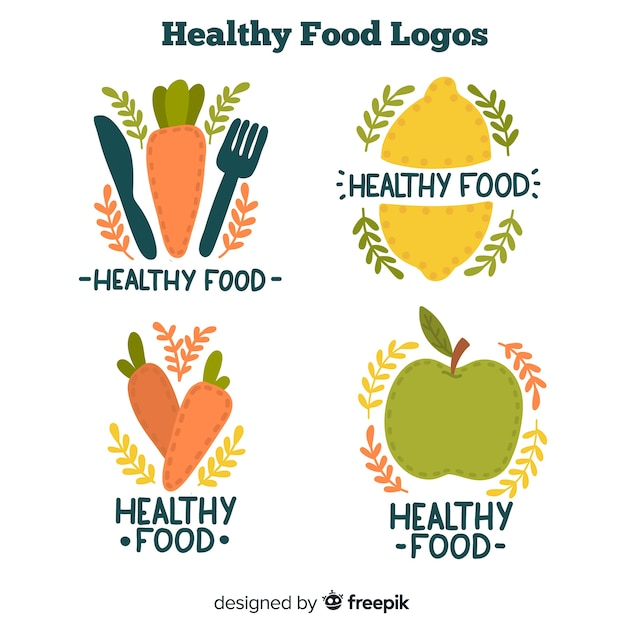 Hand drawn healthy food logos Free Vector