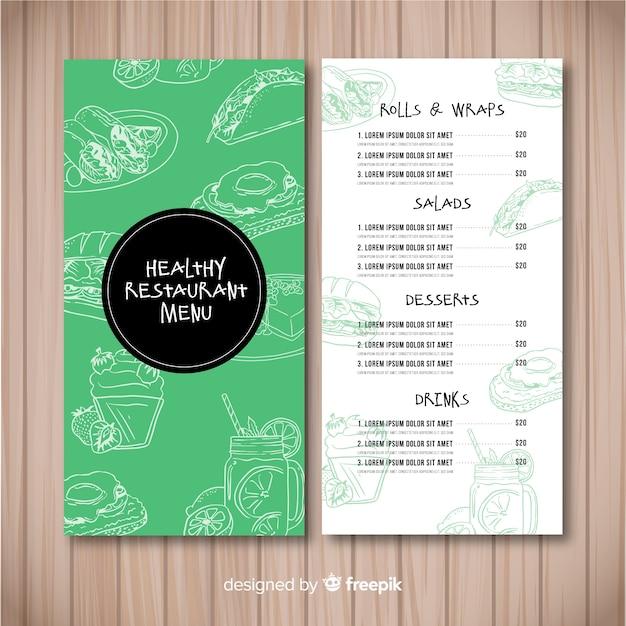 Hand drawn healthy food menu Free Vector