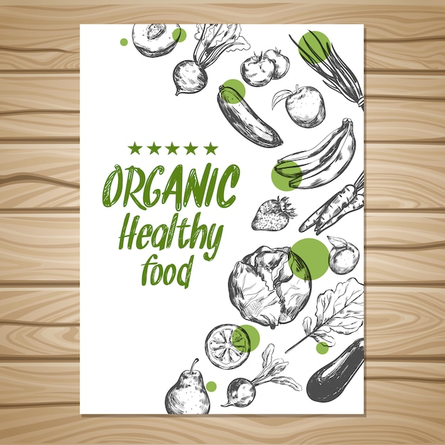 Hand drawn healthy food poster Free Vector