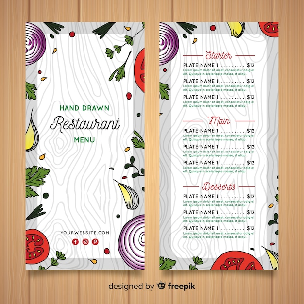 Hand drawn healthy food restaurant menu template Free Vector