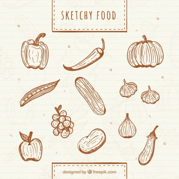 Hand drawn healthy vegetables and fruits Free Vector
