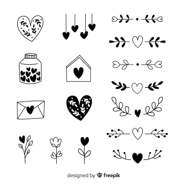 Hand drawn heart collection Free Vector