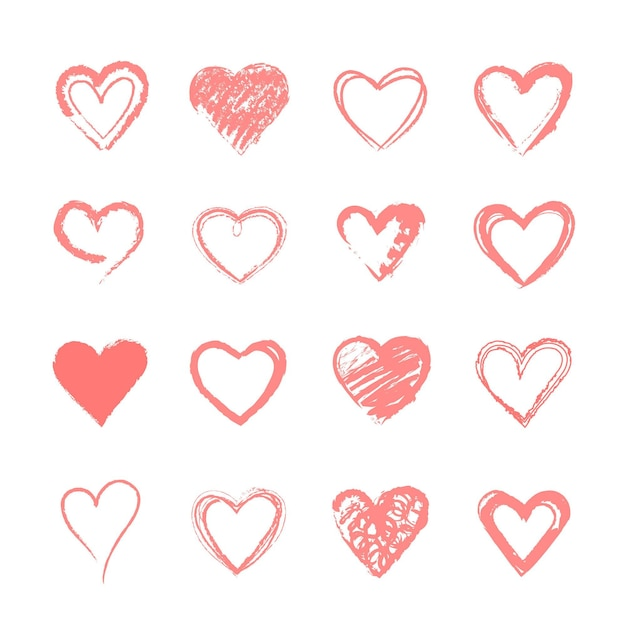 Hand drawn heart collection Premium Vector