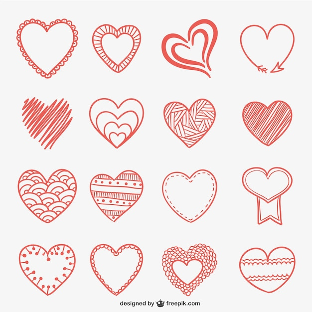 Hand drawn heart doodles Free Vector