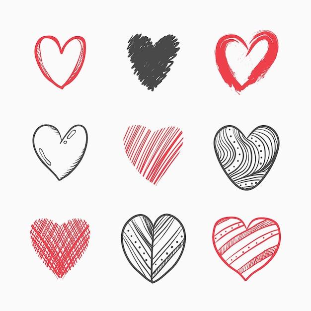 Набор рисованной иллюстрации сердца Бесплатные векторы