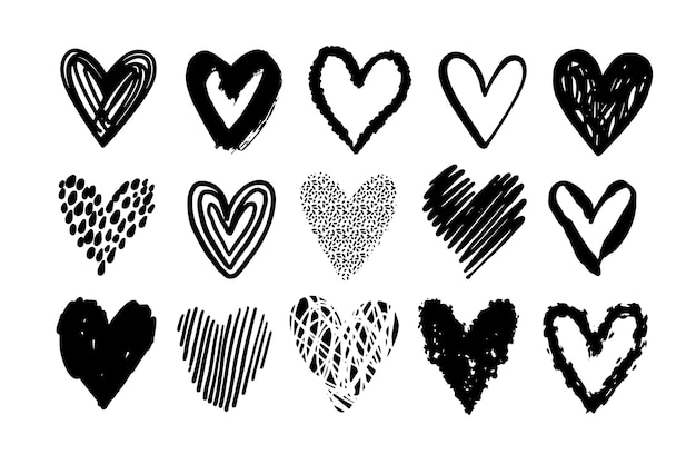 Hand drawn heart illustration set Free Vector