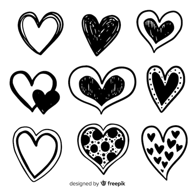 Hand drawn heart pack Free Vector