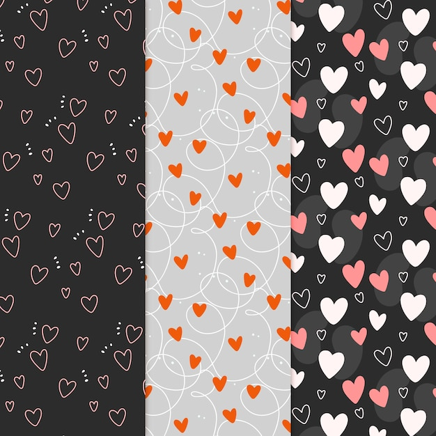 Hand drawn heart pattern collection Premium Vector