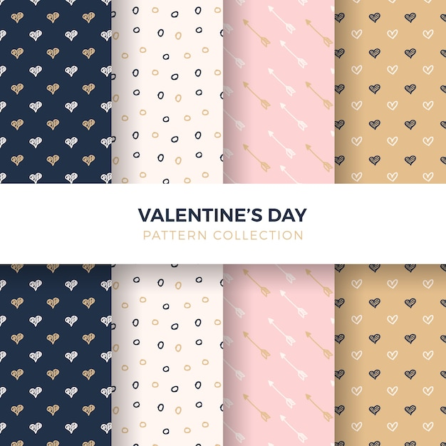Hand-drawn heart pattern collection Free Vector