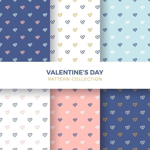 Hand-drawn heart seamless pattern collection Free Vector