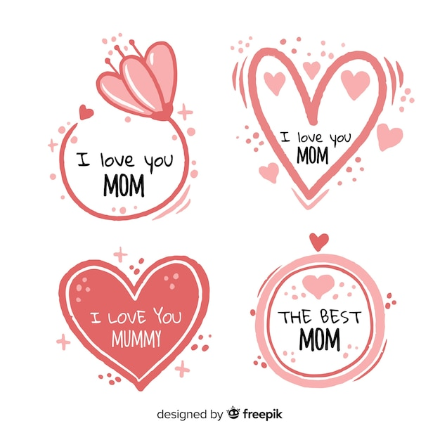 Hand drawn hearts and flowers mother's day badge collection Free Vector