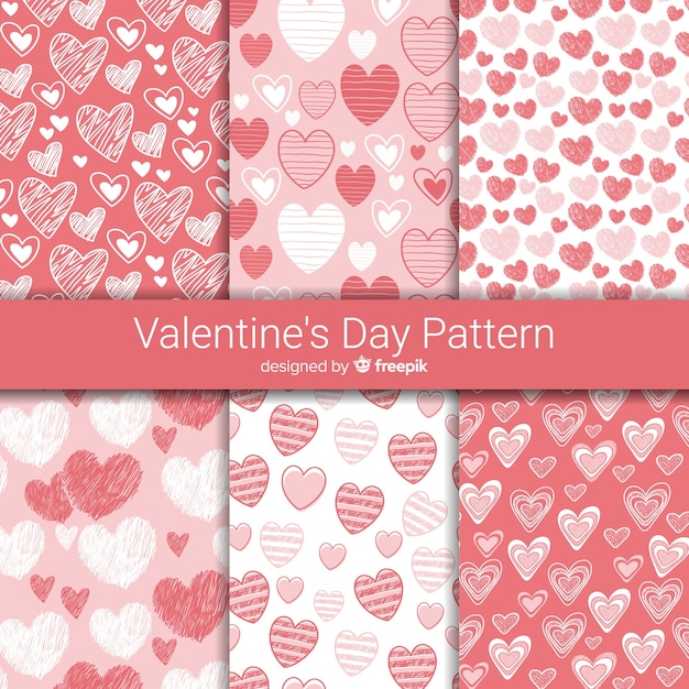 Hand drawn hearts valentine's day pattern collection Free Vector