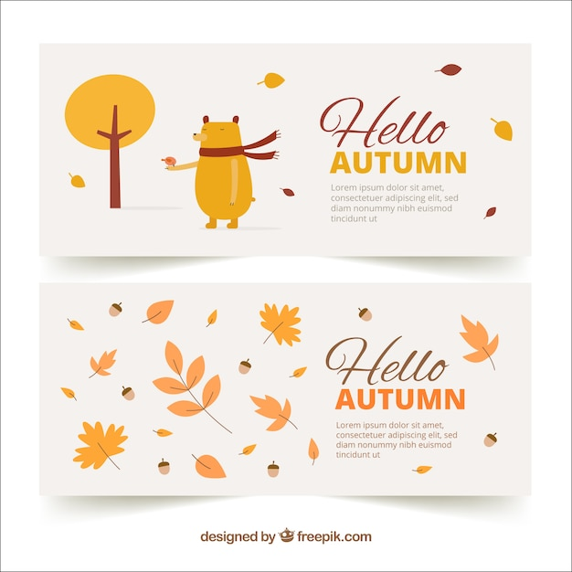 Hand drawn hello autumn banners Free Vector