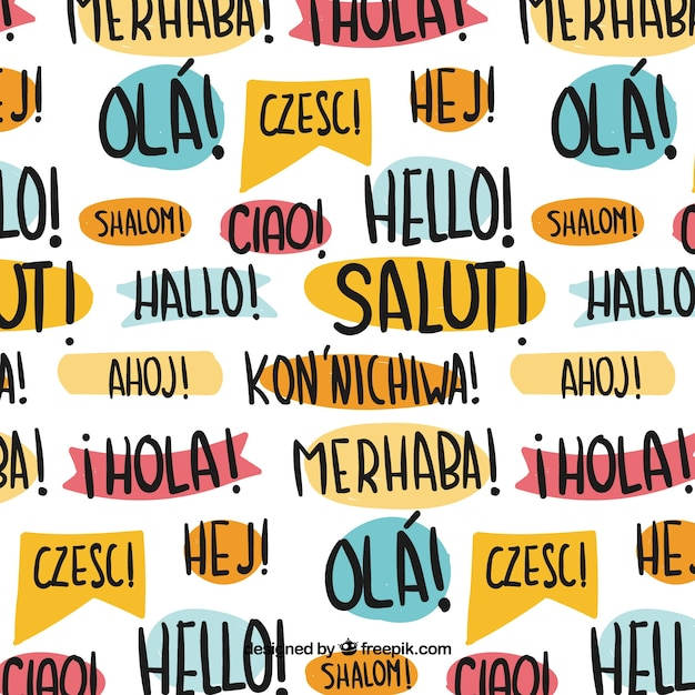 Hand drawn hello pattern in different languages Free Vector