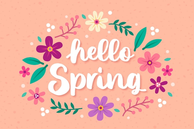 Hand drawn hello spring background Free Vector