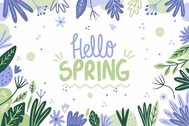 Ciao primavera sfondo disegnato a mano Vettore gratuito