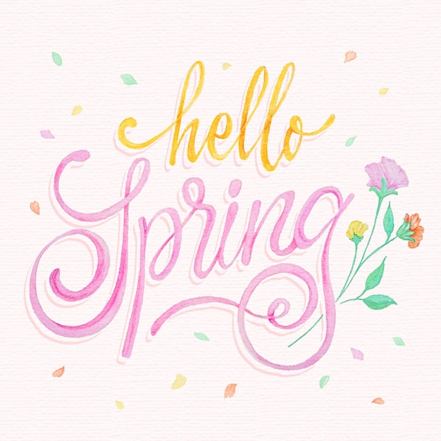 Hand drawn hello spring lettering with flowers Premium Vector