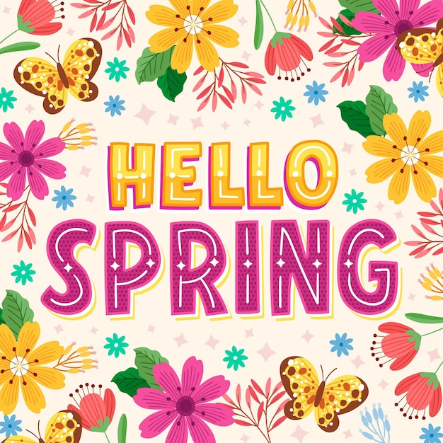 Hand drawn hello spring lettering Premium Vector