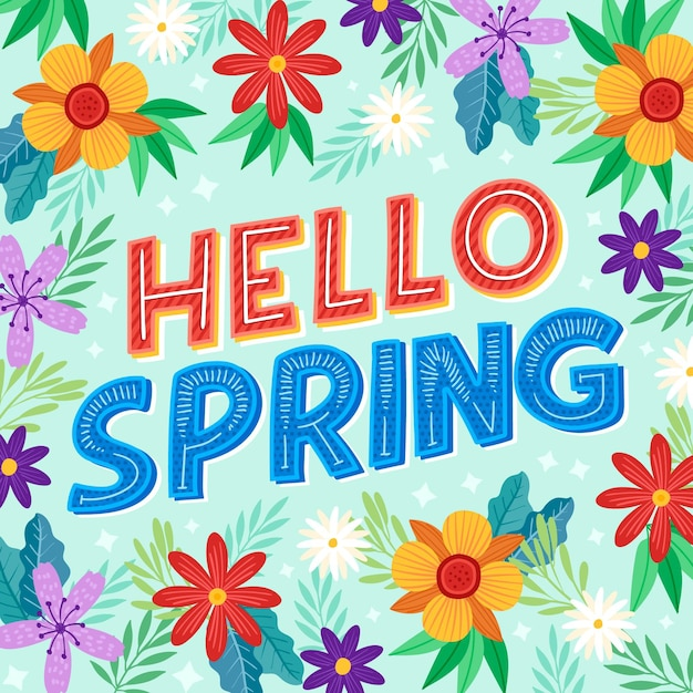 Hand drawn hello spring lettering Free Vector