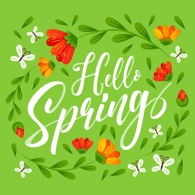 Hand drawn hello spring lettering Premium Vector